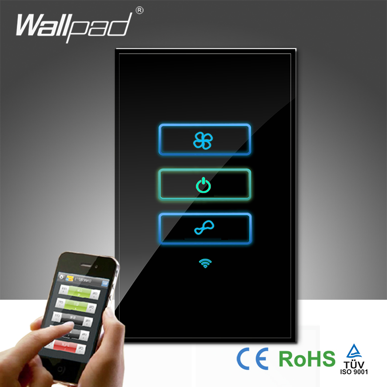 Wallpad Black Glass US AU 120 110~250V Wifi Remote 3 Speed Rotary Fan Control WIFI Electrical Touch Fan Switch, Free Shipping wallpad 118 us au standard crystal glass black wifi fan speed switch wireless remote control wall fan touch switch free shipping