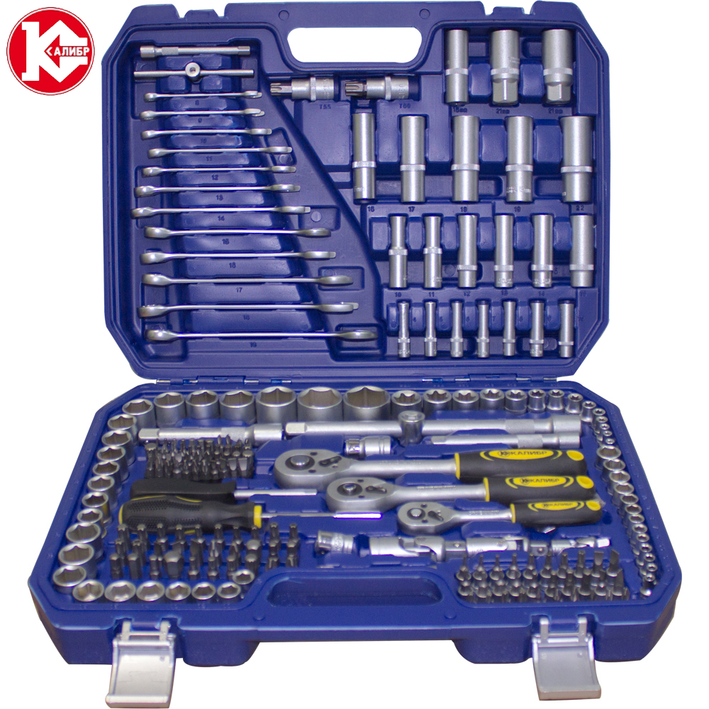 Kalibr NSM-216, 216pc Spanner Socket Set Car Vehicle Motorcycle Repair Ratchet Wrench Set Cr-v hand tools newacalox multitool pliers pocket knife screwdriver set kit adjustable wrench jaw spanner repair survival hand multi tools mini