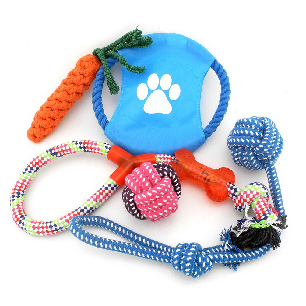 2017 Medium Large Dog/Cat 5 Pack Roy Set Tug-o-War Ball Toys on Rope for Aggressive Chewers