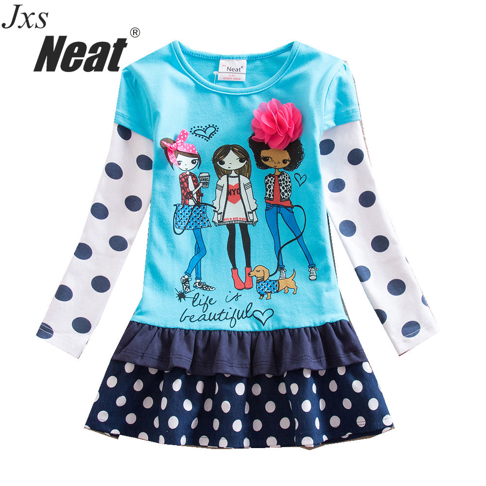 Baby girl spring autumn girl long-sleeved dress cartoon polka dot casual cotton fashion princess dress dress girl blue LH6495 children s new spring and autumn cotton stripes round neck suit thin section long sleeved jacket girl dress baby girls dress