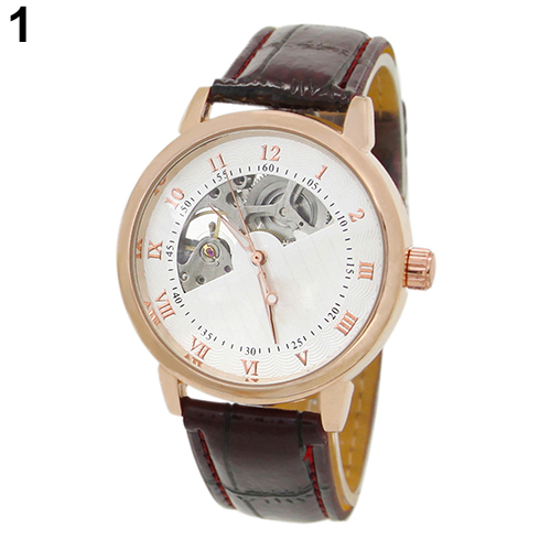 Men s Mechanical Hollow Dial Faux Leather Band Arabic Numerals Wrist Watch