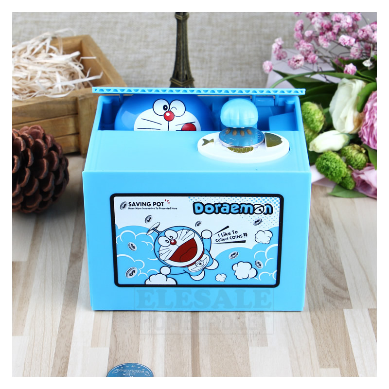 New Doraemon Piggy Bank Electric Money Box Steal Coin Automatically For Kids Birthday Gift Desk Decoration