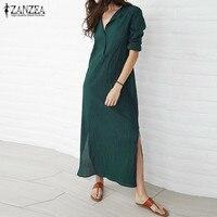 ZANZEA Brand Women Dress 2017 Autumn Casual Loose Maxi Long Party Dresses Sexy V Neck Long
