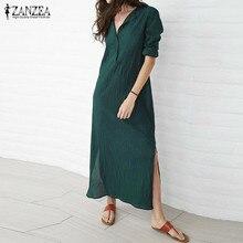 ZANZEA Brand Women Dress 2017 Autumn Casual Loose Maxi Long Party Dresses Sexy V Neck Long Sleeve Vestidos Plus Size