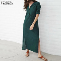 ZANZEA Brand Women Dress 2017 Autumn Casual Loose Maxi Long Party Dresses Sexy V Neck Long