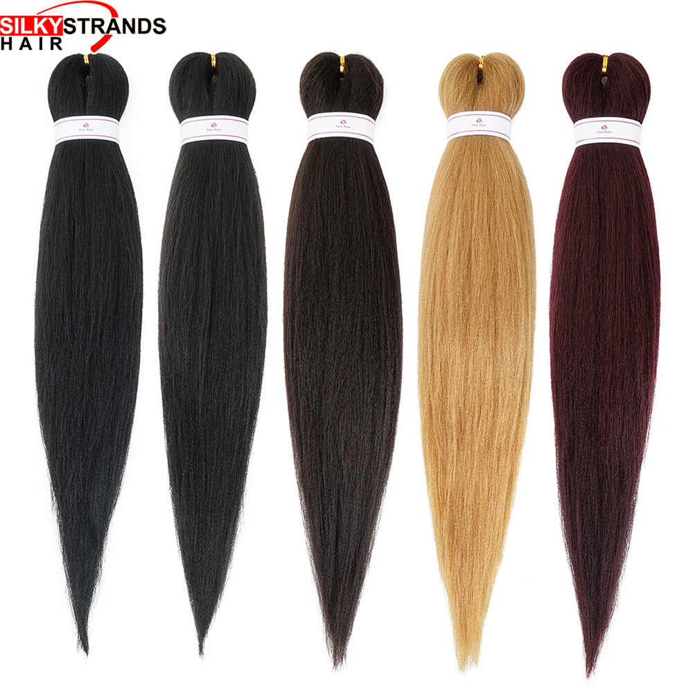 Synthetic Soft Brown Pre-Stretched Braid Silky Strands 26inch 90g 100% Synthetic pre-layerd tch free EZ braid