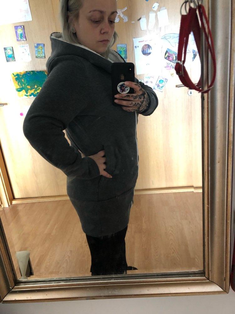 Winter Coat Women Hoodies Sweatshirts Warm Kpop Zipper Outerwear 3Xl Plus Size Hooded Coat Casual Long Sweatshirt Femme photo review