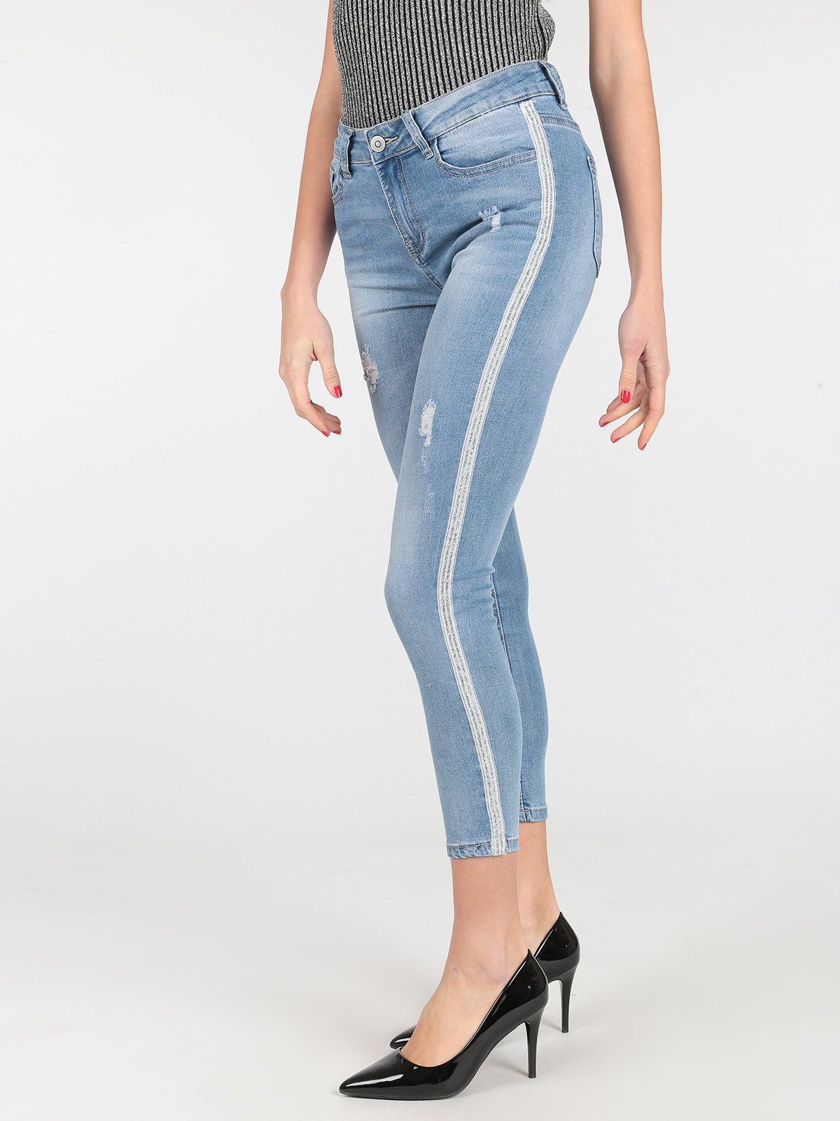 ICE & LEMON Light Clor Jeans Woman High Waist Elastic Ripped Side Stripe Slim Pencil Spring Pants