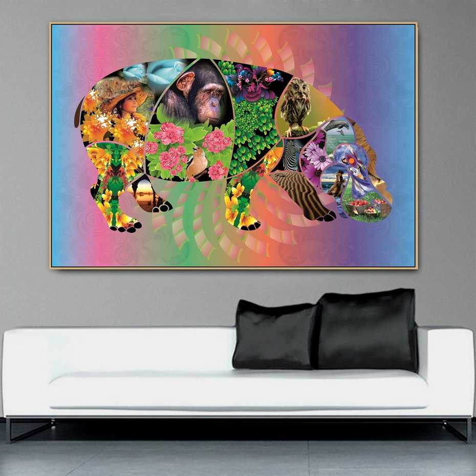 Hippopotamus Animal Mix Collage Photo Design Canvas Painting Poster Print POP Art for Home Wall Decor Art Living Room Decor Art
