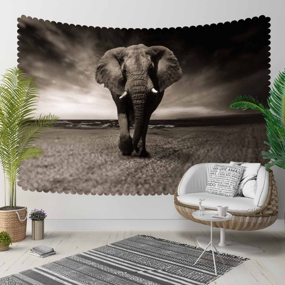 Else Gray White Floor Elephant Animal Mandala 3D Print Decorative Hippi Bohemian Wall Hanging Landscape Tapestry Wall Art