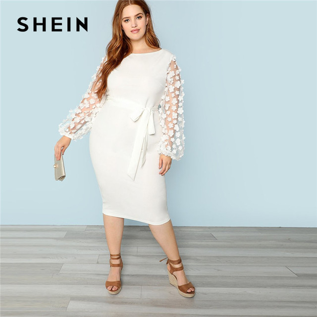 6529aa1130 US $38.33 |SHEIN White Floral Applique Sheer Lantern Sleeve Plus Size Women  Bodycon Dress Elegant High Waist Belted Solid Pencil Dresses-in Dresses ...