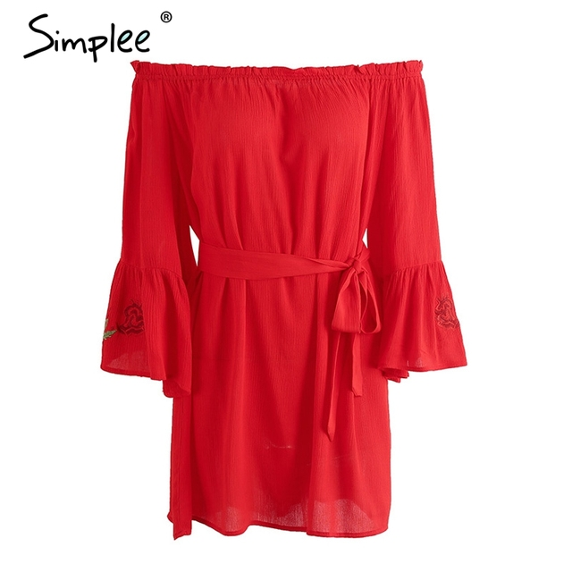 Simplee Off shoulder flare sleeve embroidery dress Women sexy ruffle red short dress Belt bow loose beach summer dress vestidos
