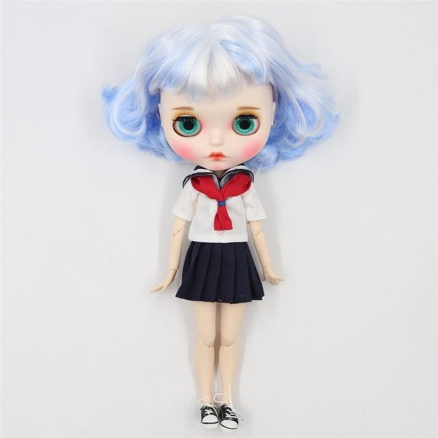 TBL Neo Blythe Doll Short Light Blue White Hair Jointed Body