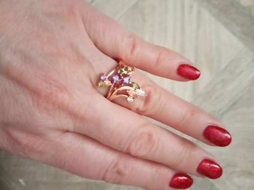 BAMOER High Quality  Gold Color Finger Ring for Women Party with AAA Colorful Cubic Zircon Famous Brand Jewelry JIR048
