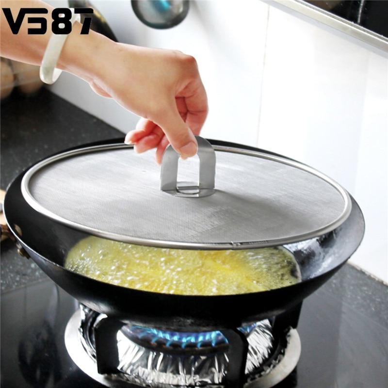 Foldable Handle Cover Lid Oil Spill Proof Frying Pan Splatter Screen ...