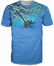 Cool Mens T-Shirt 3D Hip Hop Marlin Swordfish Sublimation Printed Marlin Fishing Hobby