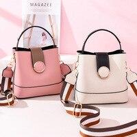 luxury bucket handbag women hobo crossbody bags designer round belt buckle tote bag web stripe strap top handle ladies hand bags