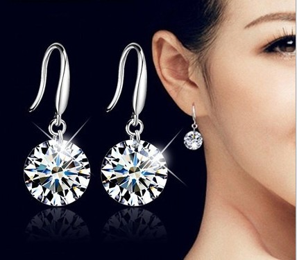 SALE Fashion jewelry 925 silver new crystal from Austrian Feather high-grade temperament circle anti allergy earrings