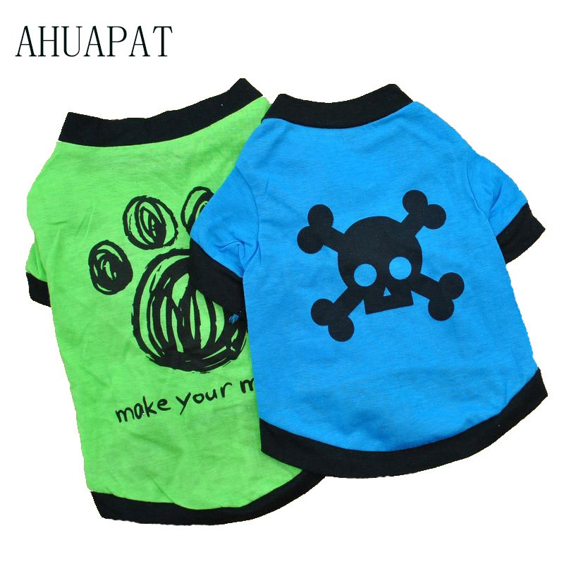 Dog Clothing Summer Products 2018 Katten Kleding Pet Supplies Shirt Hond Comfort Soft Breathable Biker Vest Camiseta Calavera E