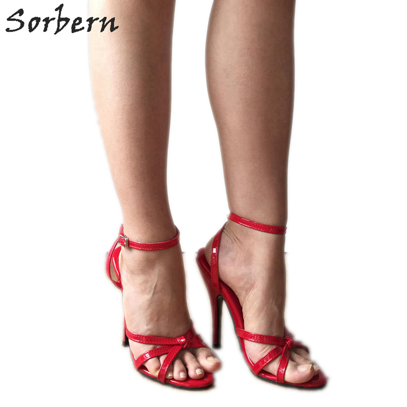 new appearance run shoes clearance prices US $67.15 15% OFF|Sorbern Sexy 12Cm Stiletto Sandals Slingbacks Women High  Heel Shoes Unisex Fetish Sandal Sexy Mistress Tie Strap Red Patent-in High  ...