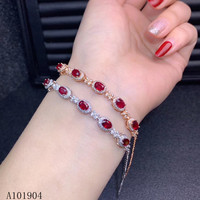 KJJEAXCMY boutique jewelry 925 sterling silver inlaid natural ruby female bracelet support detection