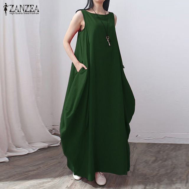 dc87ef79d924 2019 Casual kaftan Linen Summer Dress Women Elegant Loose Sleeveless O Neck  Dress Cotton Long Maxi Dress Vestidos Plus Size