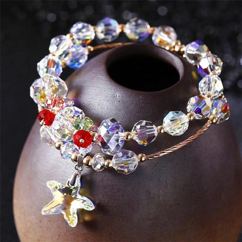 Swanbijoux chaud fait à la main multicouche cristal Bracelet bricolage étoile mode bijoux cadeau or Rose Bracelets à la mode cadeau d'anniversaire