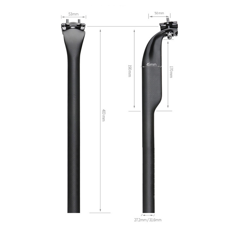 Toseek Carbon Bicycle Seatpost Adjustable Offset 50mm MTB Road Mountain Bike 27.2/31.6*400mm 3K Matte/Glossy Bicycle Parts