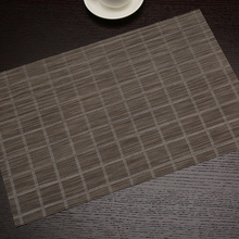 Placemat Brown Plaid Rectangle PVC Dining Table Mat For Decoration Accessories 45X30cm