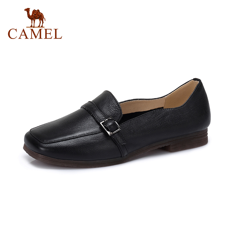 CAMEL Spring New Women Casual Low Heel Single Shoes Women Genuine Leather Retro Shallow Casual Shoes