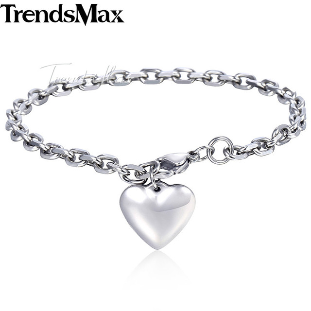 fb0d8d236b5 US $5.54 35% OFF|Women's Bracelets Heart Charm Cable Link Chain Silver  Stainless Steel Bracelet For Woman Jewelry Gifts Dropshipping 4mm KKB471-in  ...