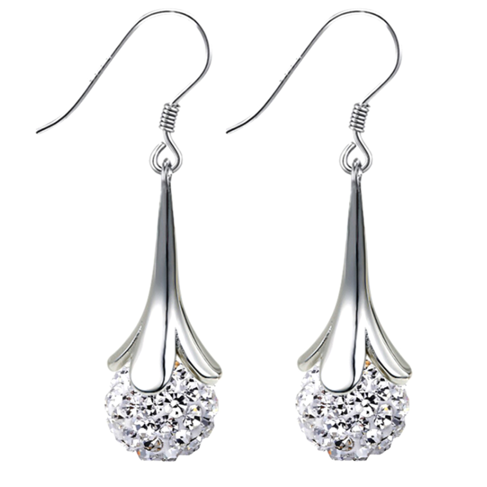 Simple Rhinestone Star Simulated Diamond Pearl Ball Long Earrings For Women  New Fashion Jewelry Valentine's Gifts