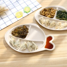Wheat Straw Fish-Shape Simple Split Dinner Dish Fast Food Snacks Plate Tableware Salad Sushi Cake Dish School Students Plate