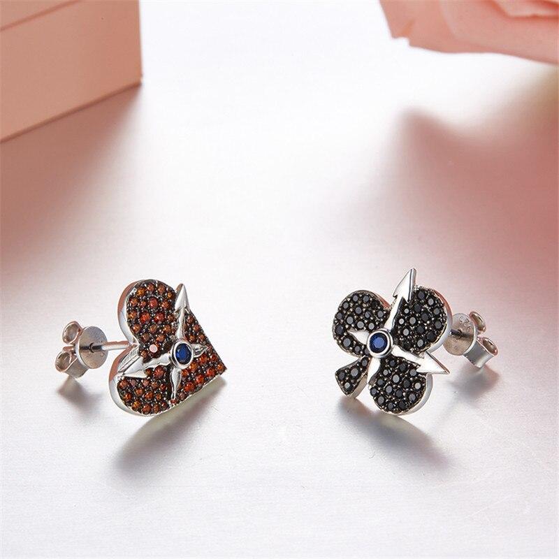ZOZIRI 925 argent sterling irrégulière fleur de prunier pêche coeur boucles d'oreilles pour les femmes charme poker carte élément boucles d'oreilles bijoux