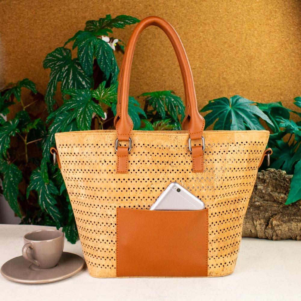 Natural cork with Camel PU leather fabric bags women cork brown body cross vegan Cork handbag Bag 317 B