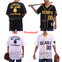 Throwback Jersey Men's Customized Any Number White Black Bad News Bears Movie 1976 Chico's Bail Bonds Baseball Jersey