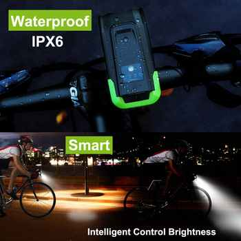 Built-in 4000mAh Bicycle Front Light Sensor Intelligent Flashlight For Bike Accessore With Speaker USB Charging Cycling LED Lamp