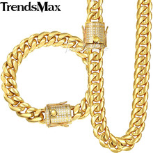 Trendsmax Miami Curb Womens Mens Jewelry Set 316L Stainless Steel Iced Out Cubic Zirconia CZ Gold Silver Color 12/14mm KHSM03