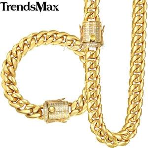Image 1 - Trendsmax Miami Curb Womens Mens Sieraden Set 316L Rvs Iced Out Zirconia Cz Goud Zilver Kleur 12/ 14 Mm KHSM03
