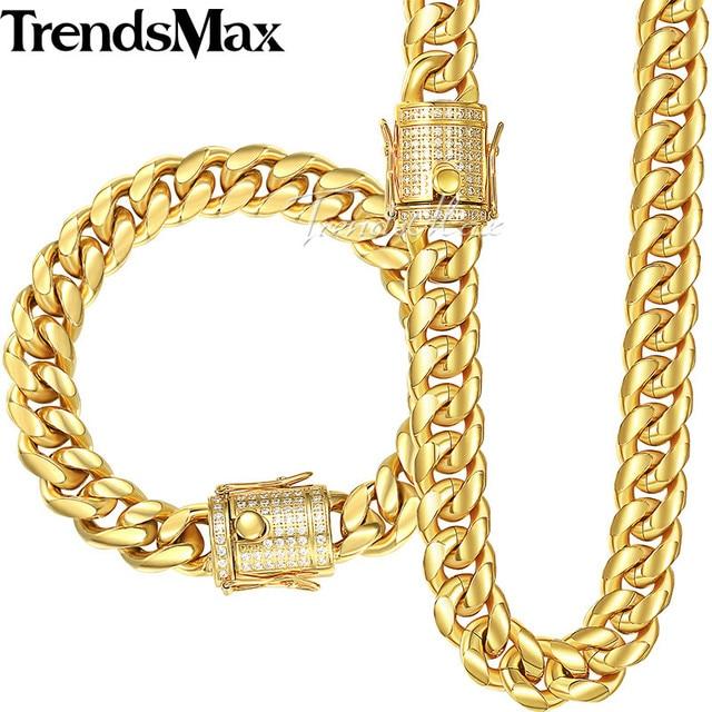 Trendsmax Miami Curb Womens Mens Sieraden Set 316L Rvs Iced Out Zirconia Cz Goud Zilver Kleur 12/ 14 Mm KHSM03