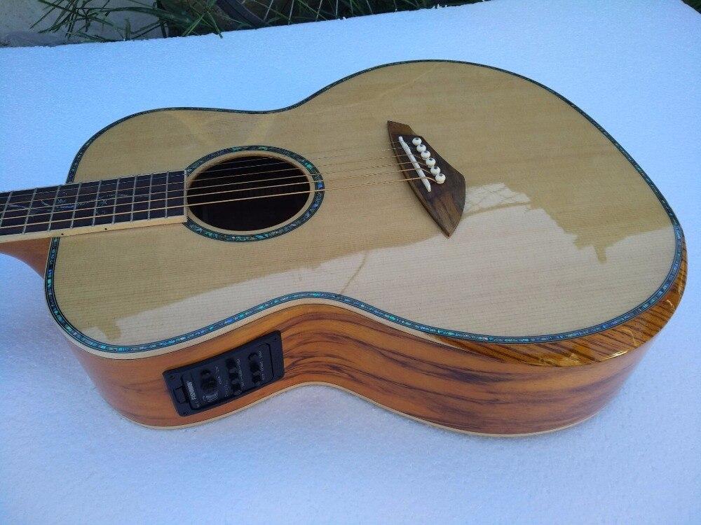 Il trasporto libero di qualità del AAA new custom chitarre OM corpo africano sanders legno solido chitarra elettrica acustica