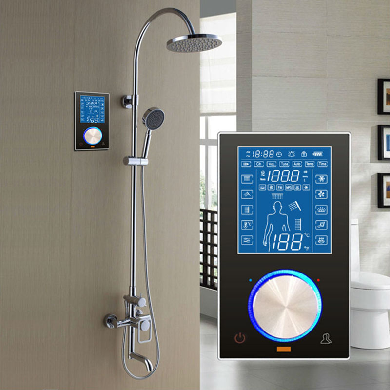 JMKWS LCD Display Control In Steam Room Thermostatic Bath Shower Room Controller Black Panel Shower Faucet Conceal Smart Mixer auto thermostatic control bath