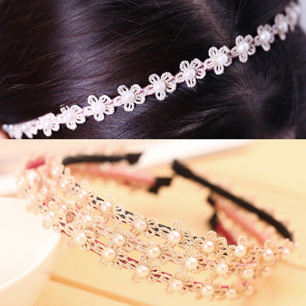 Girl Hoops Hair Lace Flowers Hairband Ladies Hair Accessories Headhand ...