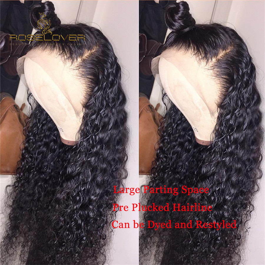Pre Plucked 13x6 Lace Front Curly Human Hair Wigs Black Full Ends Wet And Wavy Deep