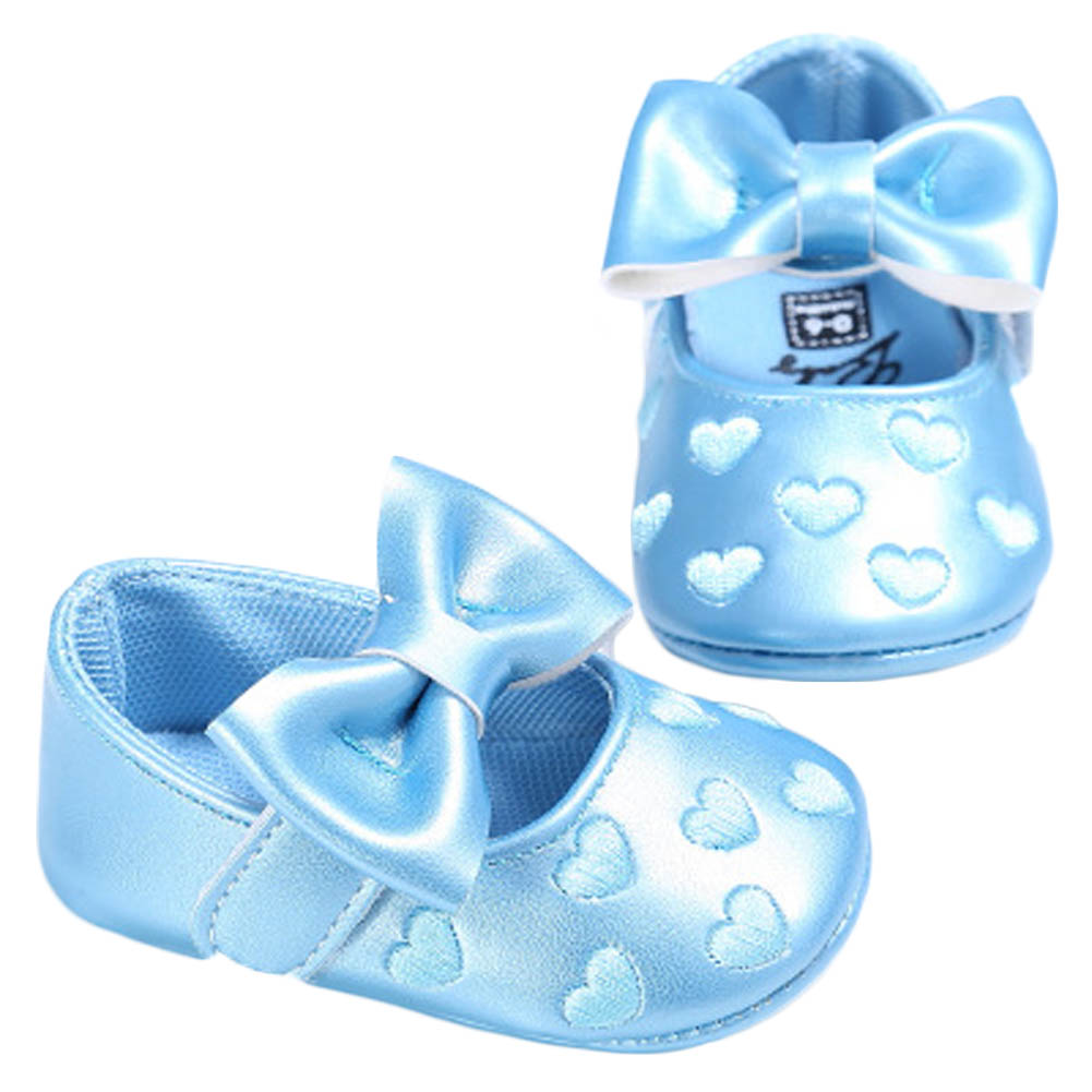 Newborn Heart Princess Baby Shoes Bow First Walkers Soft Bottom Baby Moccasins Pu Leather Babies Prewalkers MaryJane Shoes