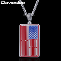 Davieslee Stainless Steel National USA American Flag Pendant Necklace Women Mens Unisex Gift Fashion Jewelry DLKP512