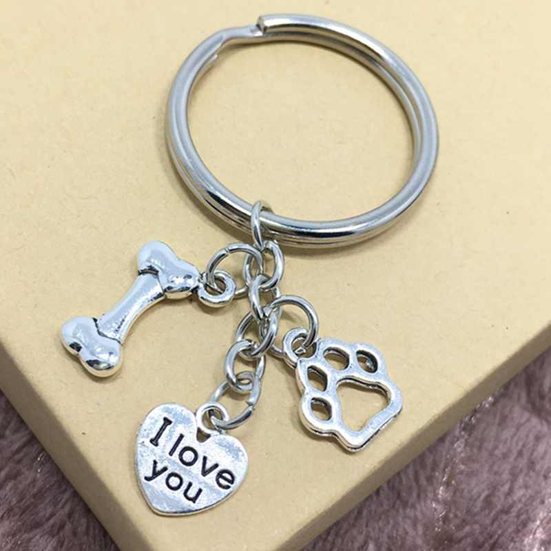 Silver Color Dog Claw Keychain Heart Love My Dog&Cat Keyring Charm Pendant Keyring Jewelry Gift