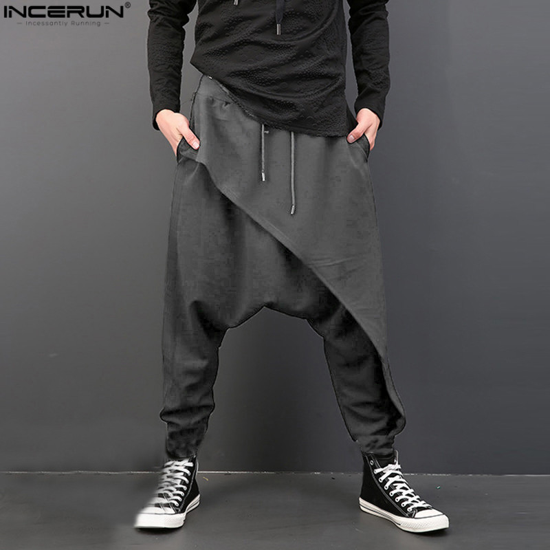 INCERUN Vintage Men Loose Drop Crotch Drape Pants Dance Baggy Trousers Men Drawstring Harem Pants Men pantalon hombre Plus Size