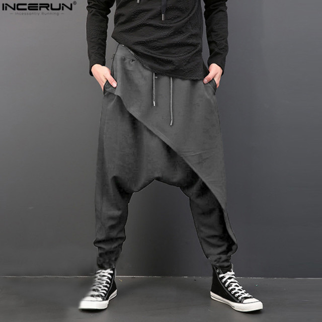 3c2b4fc5da9f INCERUN Vintage Men Loose Drop Crotch Drape Pants Dance Baggy Trousers Men  Drawstring Harem Pants Men pantalon hombre Plus Size