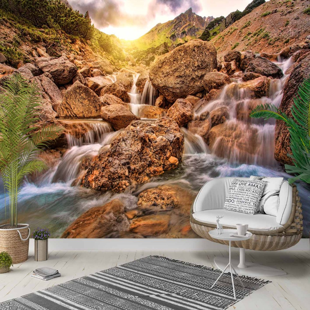 Else Brown Mountain Stones In Blue River 3d Photo Cleanable Fabric Mural Home Decor Living Room Bedroom Background Wallpaper